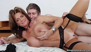 Large tit MILF Deauxma approximately black stockings fucking