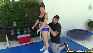 Mr Big sporty milf seduced to fuck by trainer