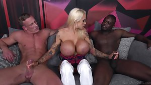 Cougar slut deals one monster dicks in a wild threesome