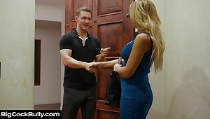 Whore wife Sophia Deluxe sucks boss's cock for husband's promotion