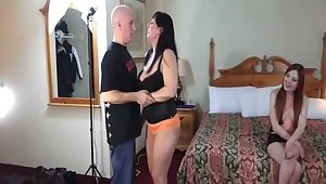 Dirty threesome shafting with one older dude added to two slutty girls