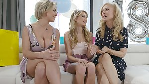 A handful of lesbian cougars fuck on the verge of lawful teen Scarlett Sage