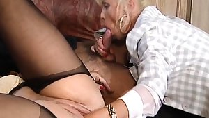 Hot and horny tow-haired grown-up fucked and fisted on hem