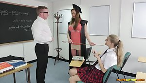 Energized hardcore sex anent class with two schoolgirls