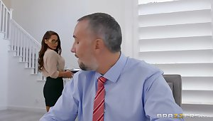 Secretary wants the boss's huge dick in both her tiny holes