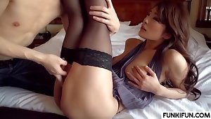 Sensuous Oriental Maw In Stockings Gets Humped Away from Her Lover