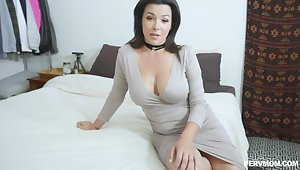 Brunette MILF Danica Dillon takes off her panties there drove well