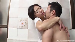 Quickie fucking in the go to the loo with a mature Japanese lover