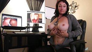 Sugar Sweet licks her nipples while fingering her juicy pussy