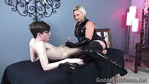 Latex Handjob - Nerd Guy and Perverse Mistress