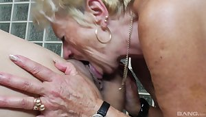 Old vs young lesbian video with two amateur gentry who love pussy