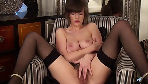 Banging MILF with big boobies is rubbing will not hear of queasy pussy sexily