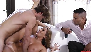 Horny MILF Richelle Ryan enjoys riding a stiff dick while hubby watches